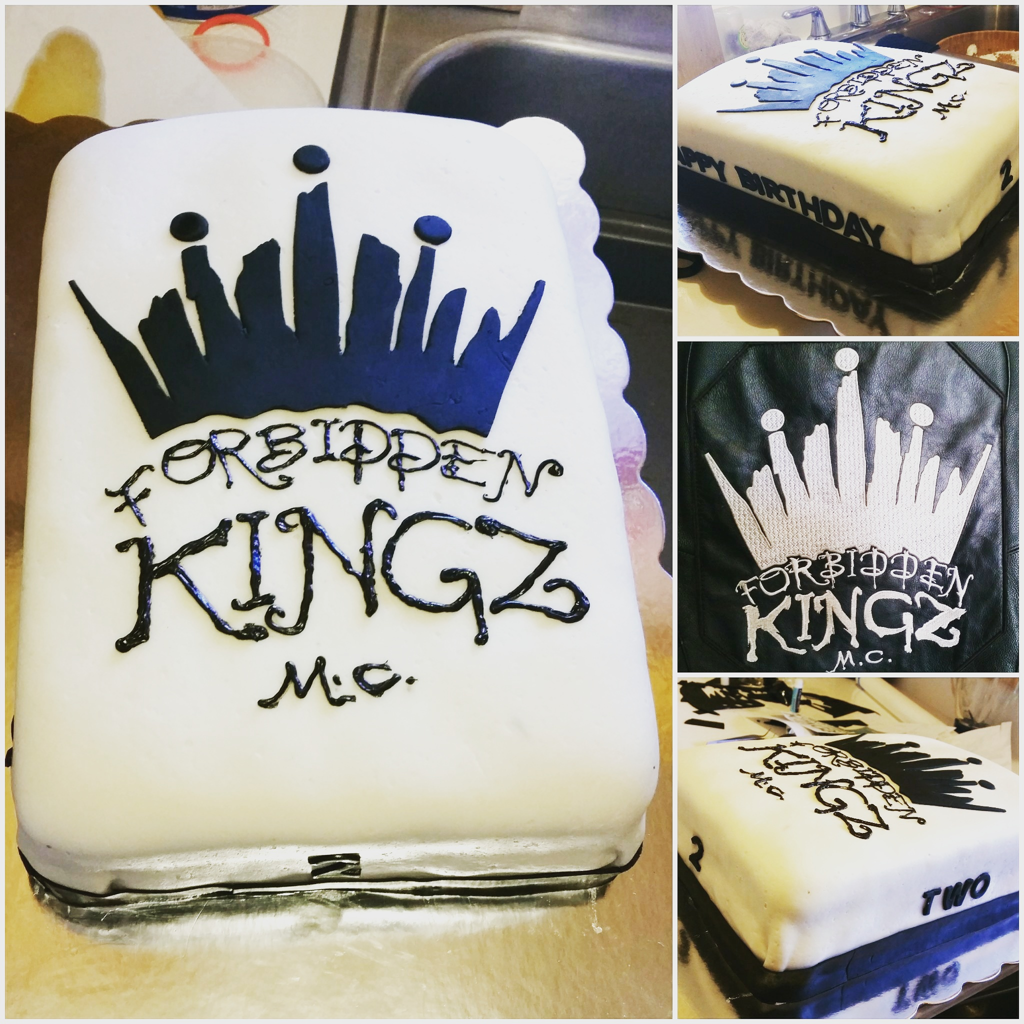 Motorcycle club cake forbidden kingz crown cake men cake