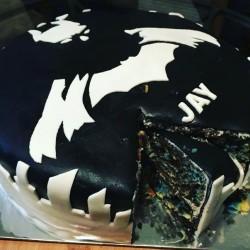 Bat man cake, super hero cake, black and white cake, gotcakes_ want cakes miri bakes fondant bir ...