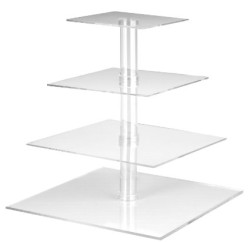 4-Tier Square Stacked Party Cupcake Stand