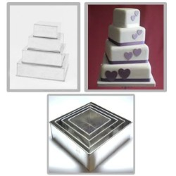 4 Tier Square cake pans