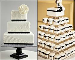 Black and white mini cakes