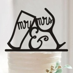 Mr and Mrs Wine Glass Cake Topper