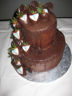 Starwberries and chocolate grooms cake