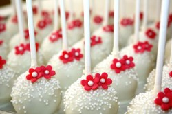 Wedding Cake Pops with  Red Flowers