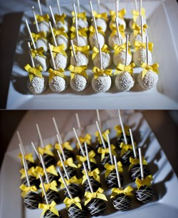 Wedding Cake Pops  witg Yellow Ribbon