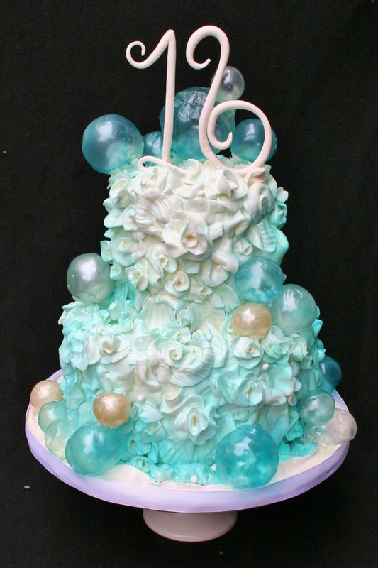 16th Birthday Cake with bubbles