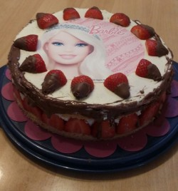 Barbie Cake with Strawberries