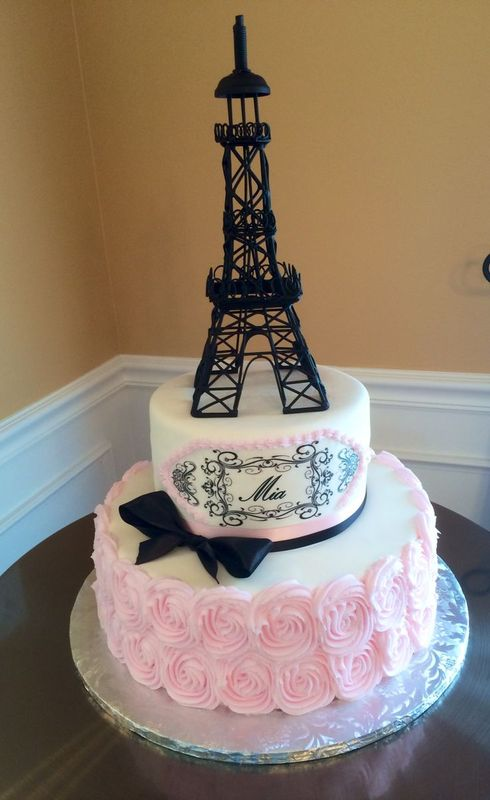 Birthday Cake With Eiffel Tower