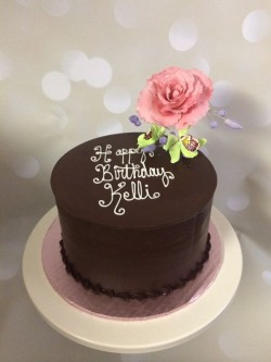 Chocolate Birthday Cake with Rose