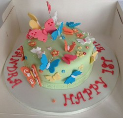 Happy Birthday Cake with Butterflies