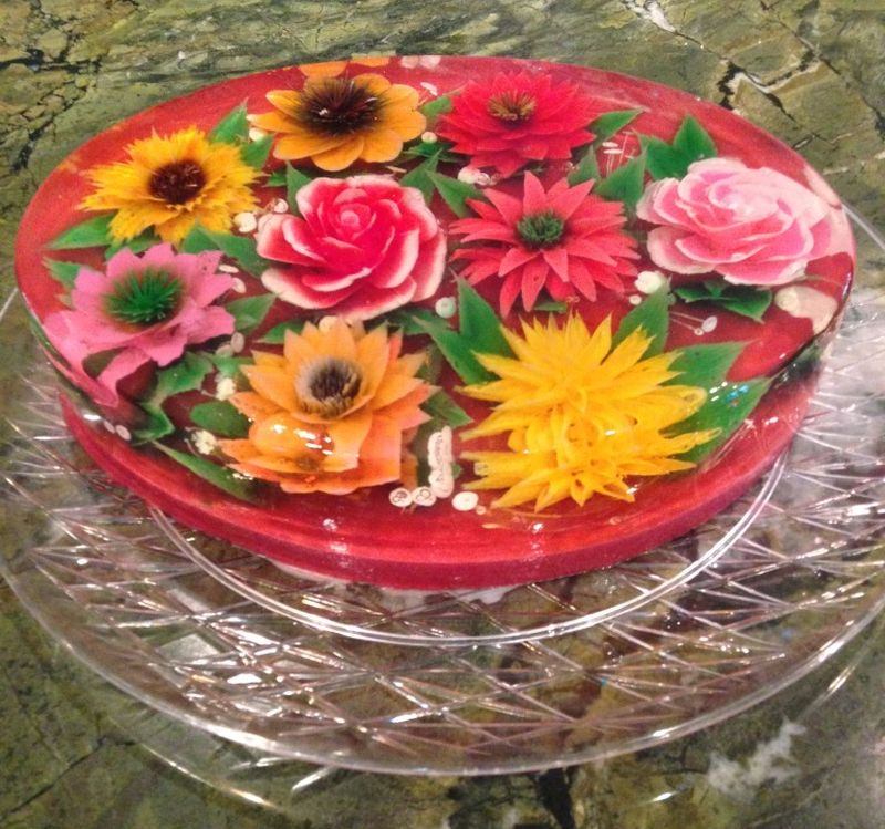 Flower Jello Centerpiece : Jello flower cake