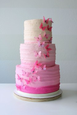 Large Cake with Pink Butterflies