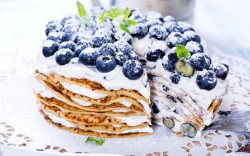 Pancakes Blueberries Cake