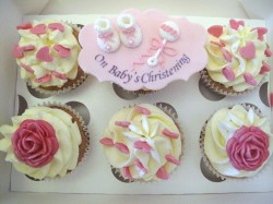 Pink Christening Cupcakes