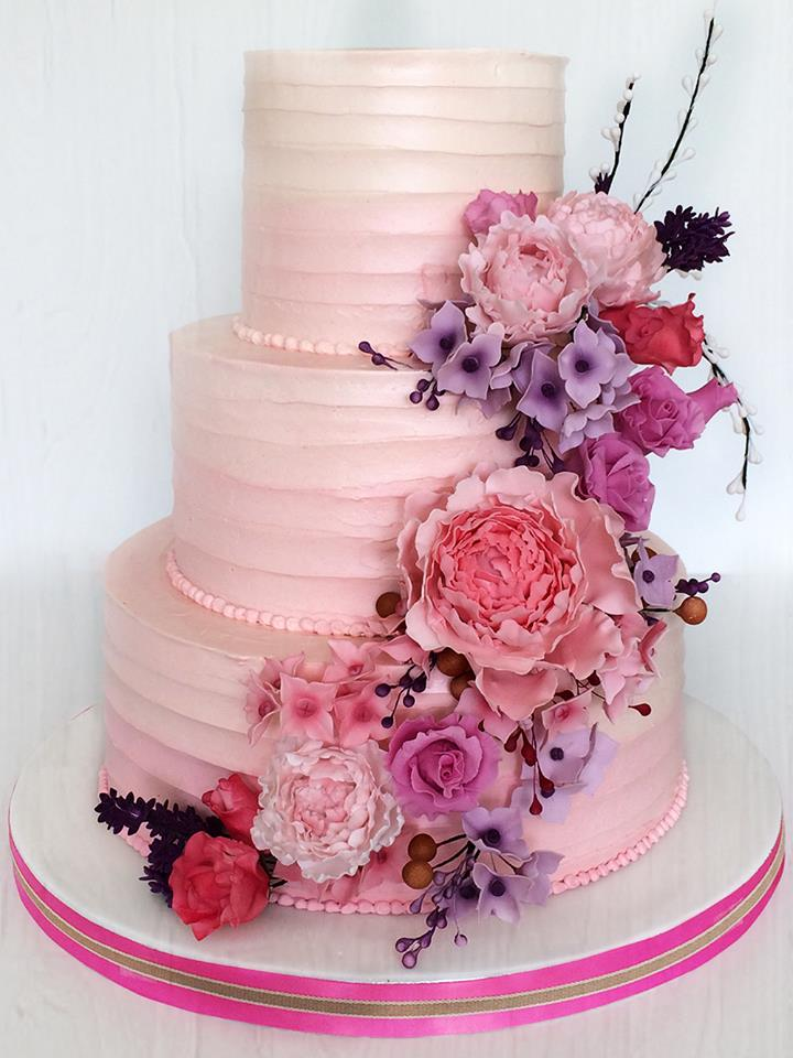 Pink floral wedding cake mightylinksfo