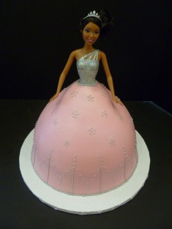 Pink and Silver Barbie Cake