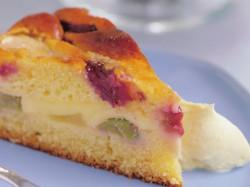 Rhubarb and Pear Custard Cake