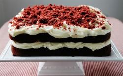 Squere red velvet cake
