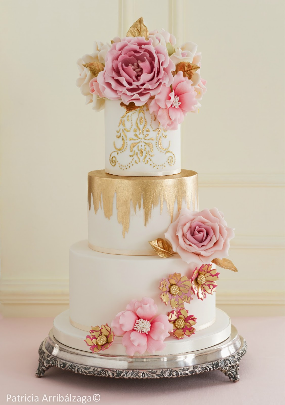 Wedding Cake with Golden Decor