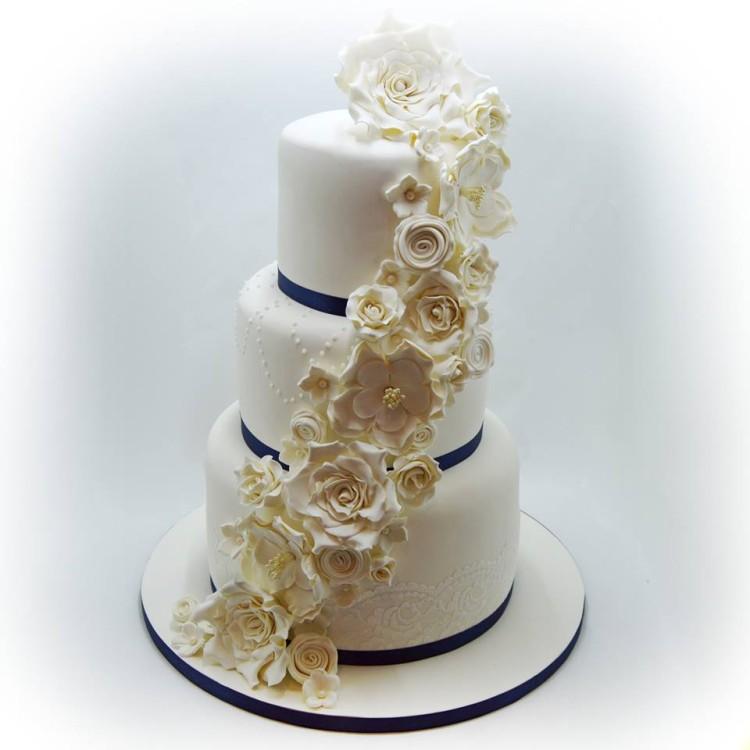 Wedding Cake With White Roses