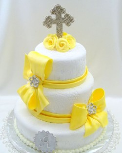 Yellow Christening Cake