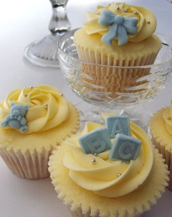 Yellow Christening Cupcakes
