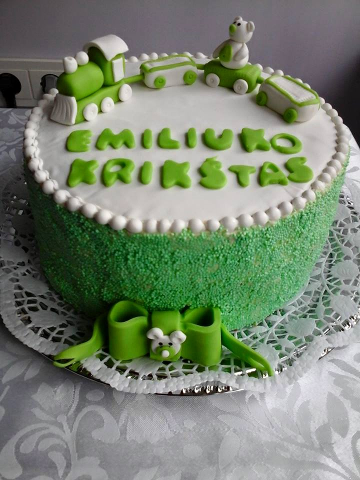 Green Christening Cake