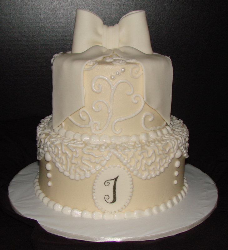 Lace bridal shower cake for Cakes for wedding showers