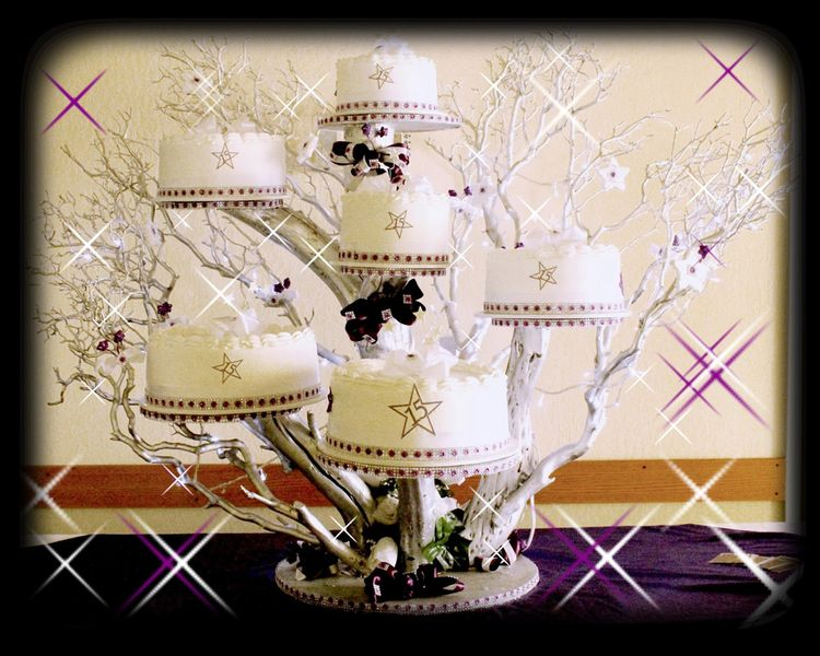 Purple Star Tree Quinceanera Cake