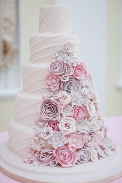 Wedding Cake with Ruflle Flowers