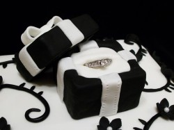 White and Black Engagement Cake