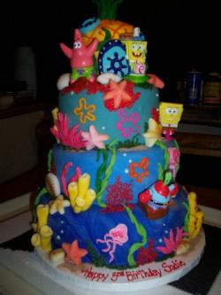 Amazing 4 tiers Spongebob cake
