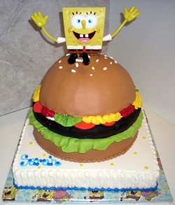 Amazing cake with Spongebob