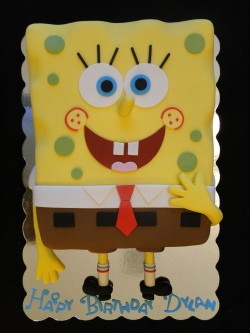 Birthday cake smiling Spongebob