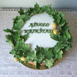 Christening Cake with Oak Leaves