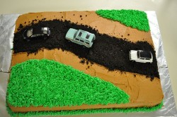 Dirt cake with cars