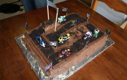 Dirty cake with bikes