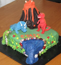 Lava and Dinosaur Cake