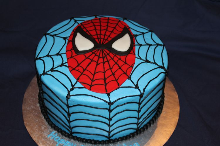 Blue Round Cake with Spider Man Face