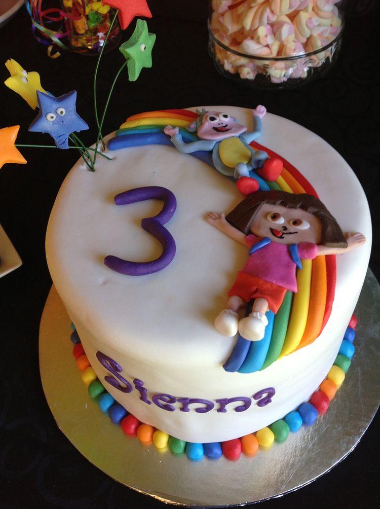 Cake Dora on the Rainbow