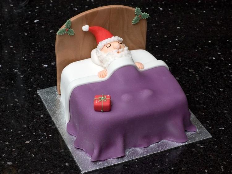 Christmas Cake with Sleeping Santa