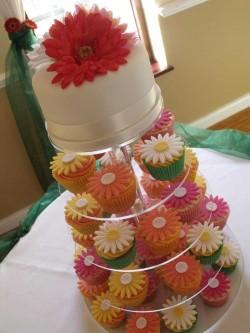Gerbera Wedding Cupcake Tower