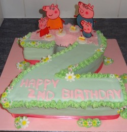 Number 2 Cake with Peppa Pig