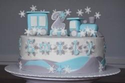 Snowy Hills Train Cake