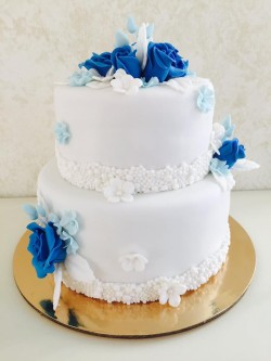 Birthday Cake with Blue Roses
