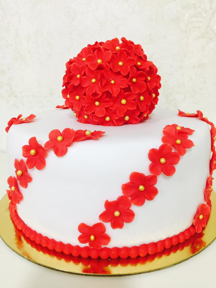 Birthday Cake with Red Flowers