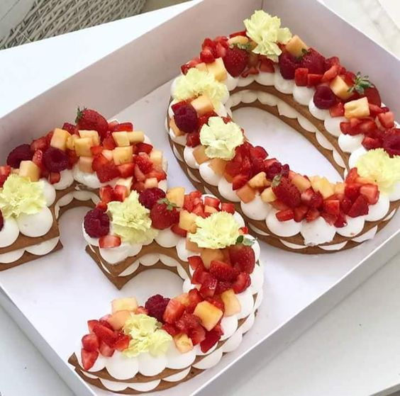 Birthday Cake with Strawberries