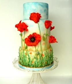 Birthday Cake with Poppy Flowers