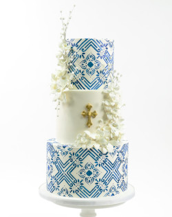 Blue Communion Cake