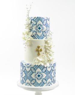 Blue Communion Cake
